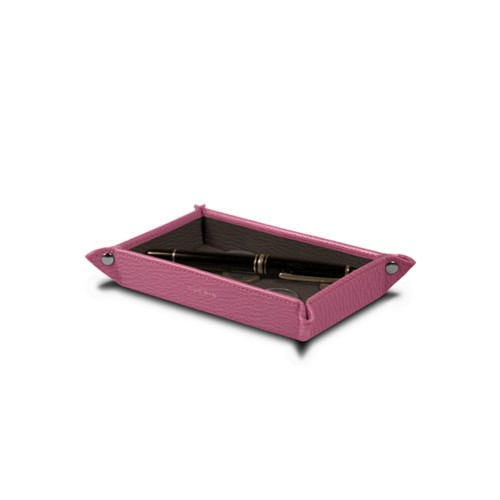 Small rectangular tidy tray (6.7 x 4.3 x 1 inches) - Pink-Dark Taupe - Goat Leather