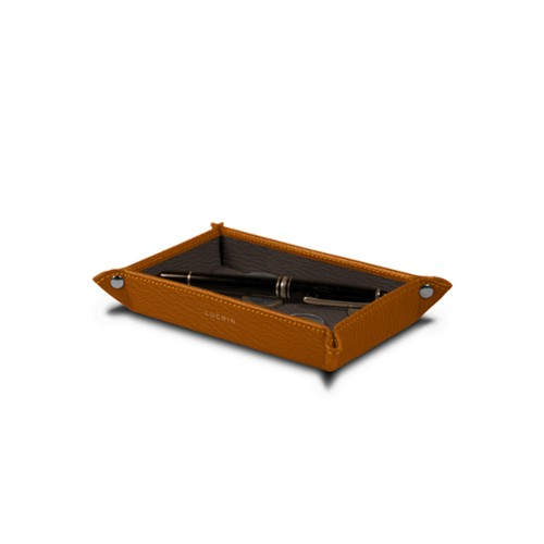 Small rectangular tidy tray (17 x 11 x 2.5 cm) - Saffron-Dark Taupe - Goat Leather