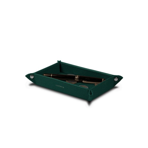 Small rectangular tidy tray (5.5 x 3.1 x 1 inches) - Dark Green - Goat Leather