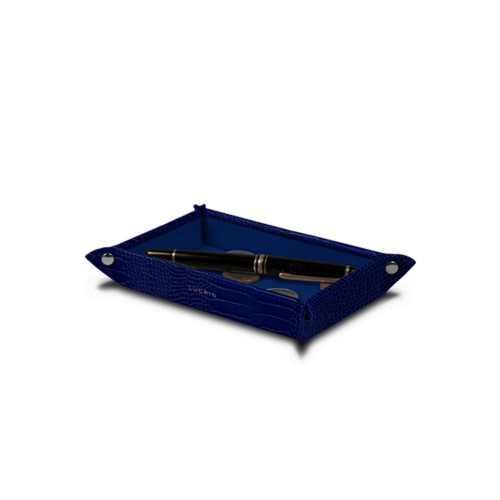 Small rectangular tidy tray (5.5 x 3.1 x 1 inches) - Royal Blue - Crocodile style calfskin