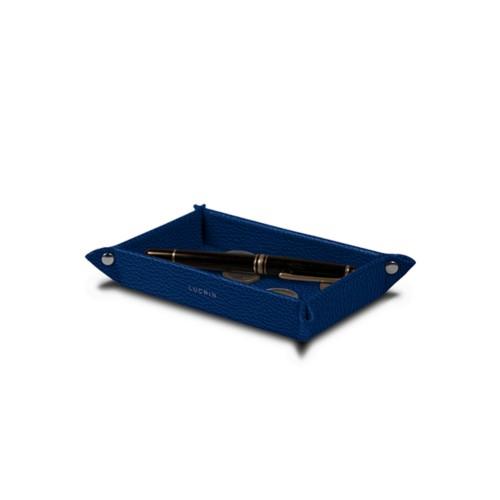 Petit vide poche rectangulaire (17 x 11 x 2,5 cm) - Bleu Roi - Cuir Grainé