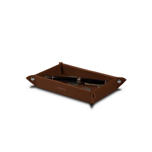 Petit vide poche rectangulaire (17 x 11 x 2,5 cm) - Cognac - Cuir Grainé