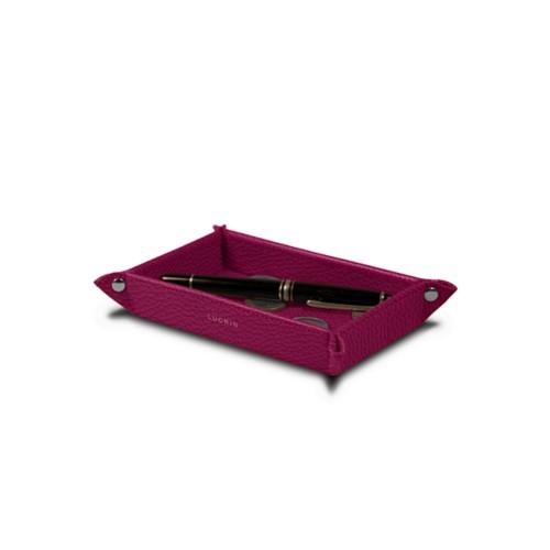 Petit vide poche rectangulaire (17 x 11 x 2,5 cm) - Fuchsia  - Cuir Grainé
