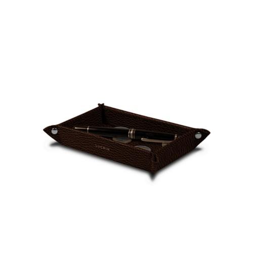 Petit vide poche rectangulaire (17 x 11 x 2,5 cm) - Marron Foncé - Cuir Grainé
