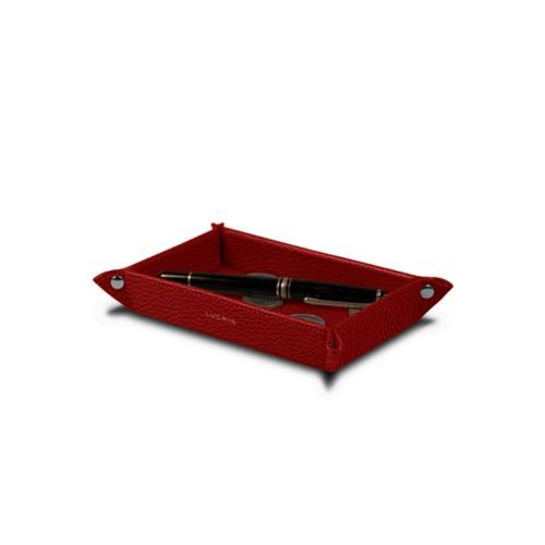 Petit vide poche rectangulaire (17 x 11 x 2,5 cm) - Rouge - Cuir Grainé
