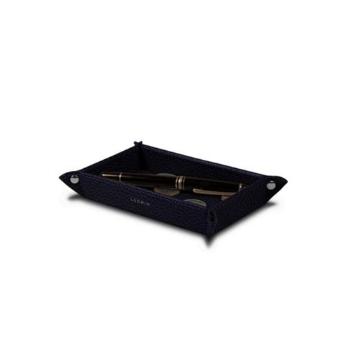 Petit vide poche rectangulaire (17 x 11 x 2,5 cm) - Violet - Cuir Grainé