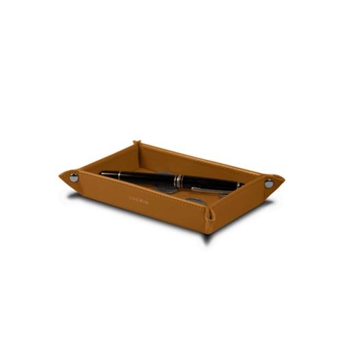 Petit vide poche rectangulaire (17 x 11 x 2,5 cm) - Naturel - Cuir Lisse