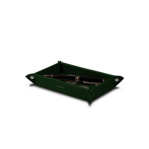 Petit vide poche rectangulaire (17 x 11 x 2,5 cm) - Vert Foncé - Cuir Lisse