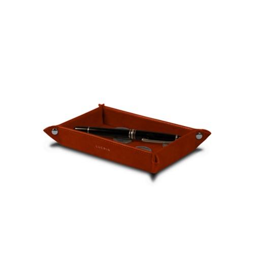 Petit vide poche rectangulaire (17 x 11 x 2,5 cm) - Cognac - Cuir végétal