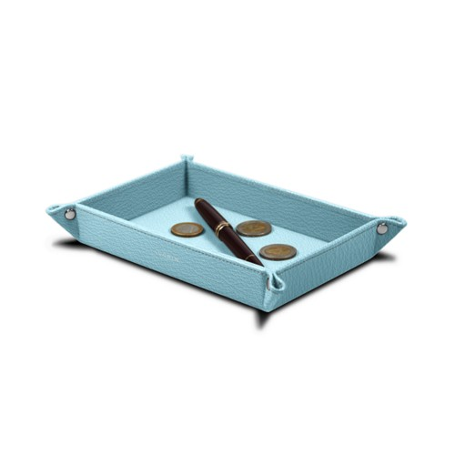 Rectangular tidy tray (6.7 x 4.3 x 1.2 inches) - Sky Blue - Goat Leather