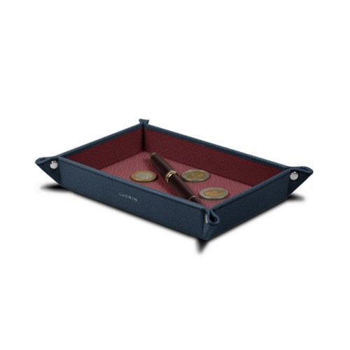 Vaciabolsillos rectangular (21 x 15 x 2.5 cm) - Azul marino-Bordeos - Piel de Cabra