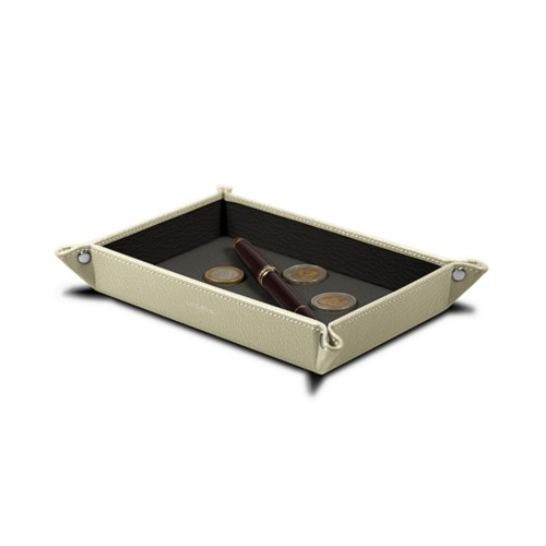 Rectangular tidy tray (8.3 x 5.9 x 1 inches) - Off-White-Mouse-Grey - Goat Leather