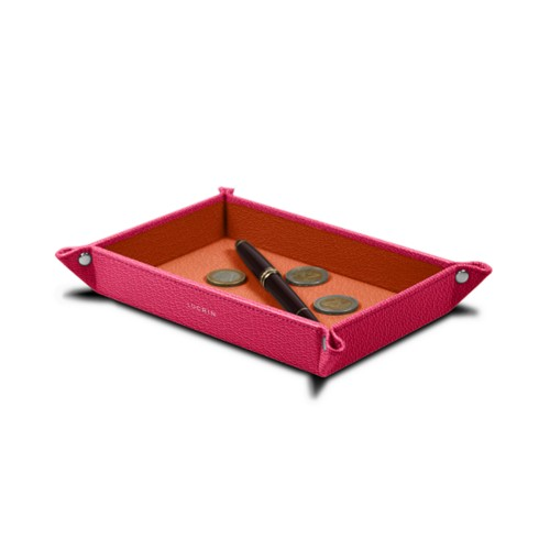 Rectangular tidy tray (21 x 15 x 2.5 cm) - Fuchsia-Orange - Goat Leather