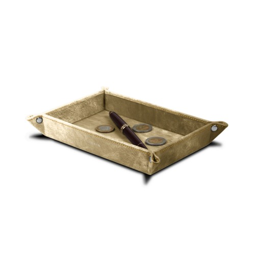 Rectangular tidy tray (6.7 x 4.3 x 1.2 inches) - Golden - Metallic Leather