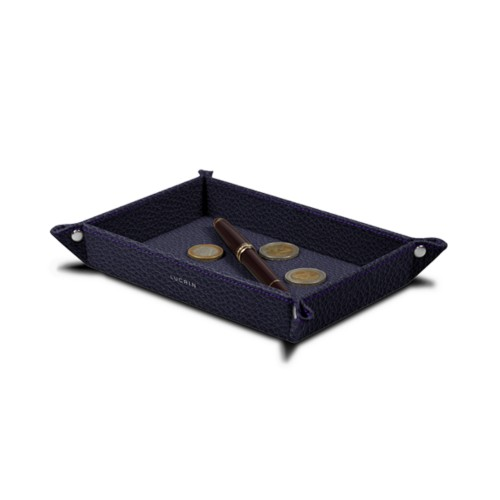 Rectangular tidy tray (6.7 x 4.3 x 1.2 inches) - Purple - Granulated Leather