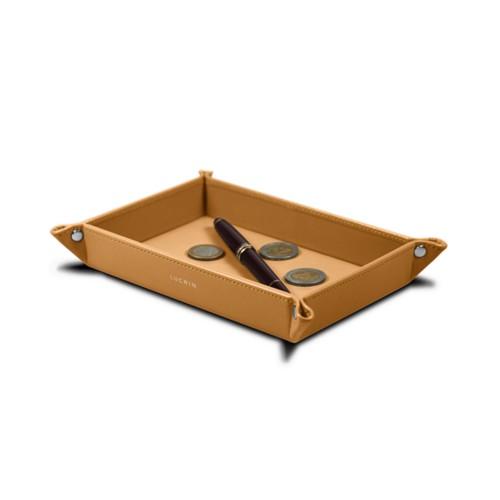 Vide poche moyen rectangulaire (21 x 15 x 2,5 cm) - Naturel - Cuir Lisse
