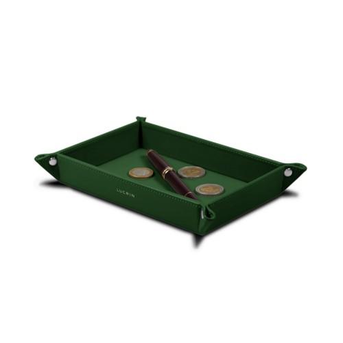 Vide poche moyen rectangulaire (21 x 15 x 2,5 cm) - Vert Foncé - Cuir Lisse