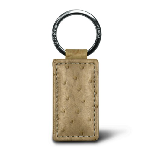 Rectangular Keyring - Beige - Real Ostrich Leather
