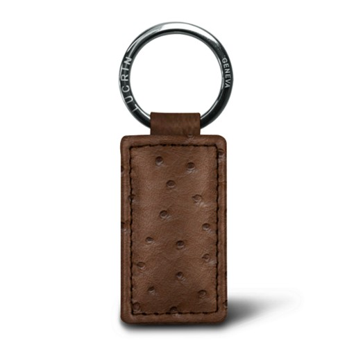 Rectangular keyring - Tobacco - Real Ostrich Leather
