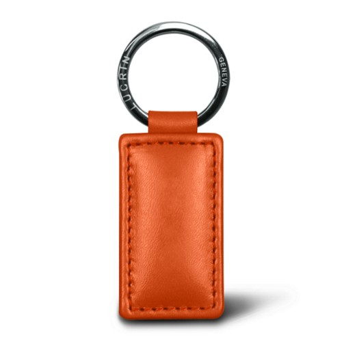 Rectangular keyring - Orange - Smooth Leather