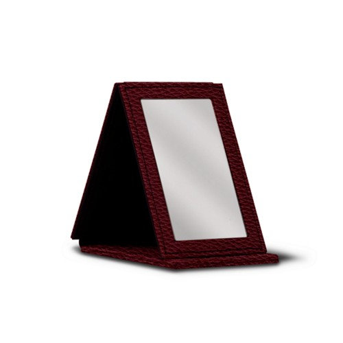Rectangular pocket mirror - Burgundy - Granulated Leather
