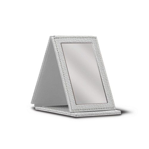 Rectangular pocket mirror - White - Granulated Leather