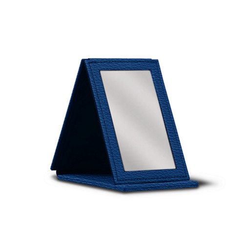 Rectangular pocket mirror - Royal Blue - Granulated Leather