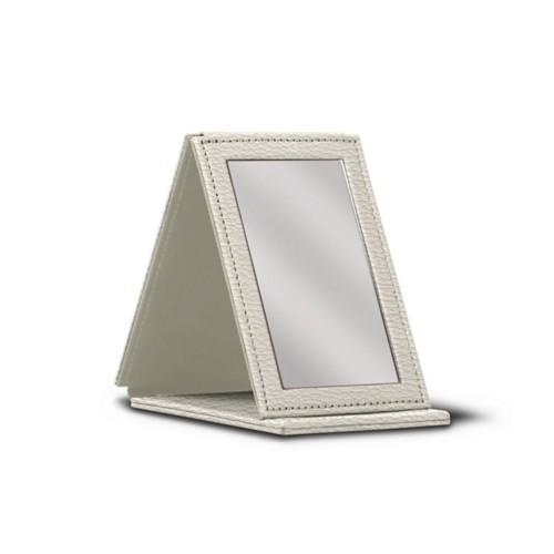 Rectangular Pocket Mirror - Off-White - Granulated Leather