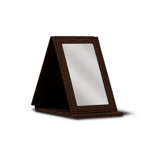 Rectangular Pocket Mirror - Brown - Granulated Leather
