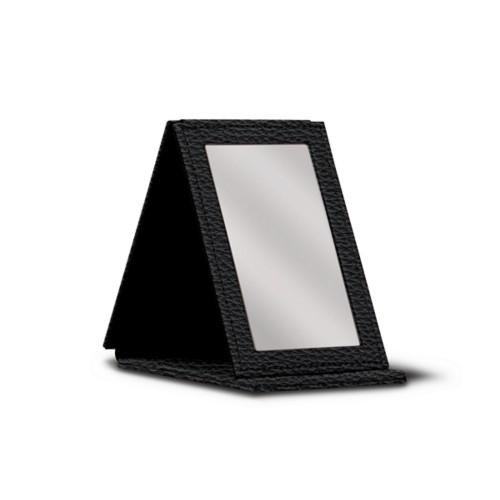 Rectangular pocket mirror - Black - Granulated Leather