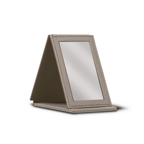 Rectangular pocket mirror - Light Taupe - Granulated Leather