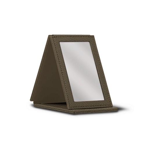 Rectangular Pocket Mirror - Dark Taupe - Granulated Leather