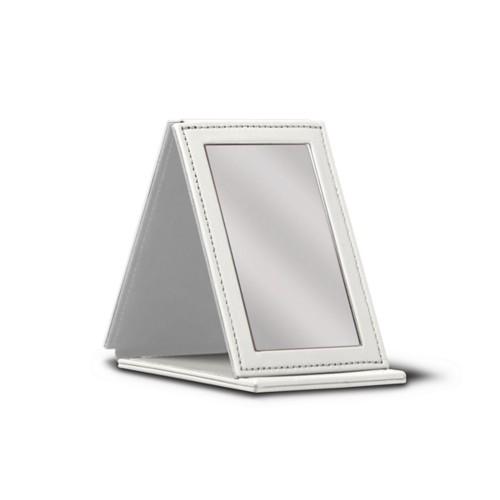 Rectangular pocket mirror - White - Smooth Leather