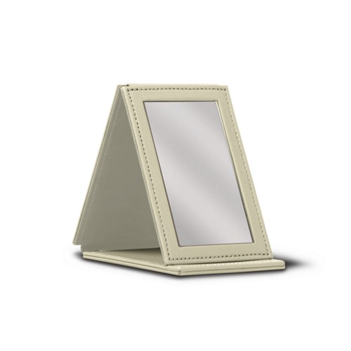 Rectangular Pocket Mirror - Off-White - Smooth Leather
