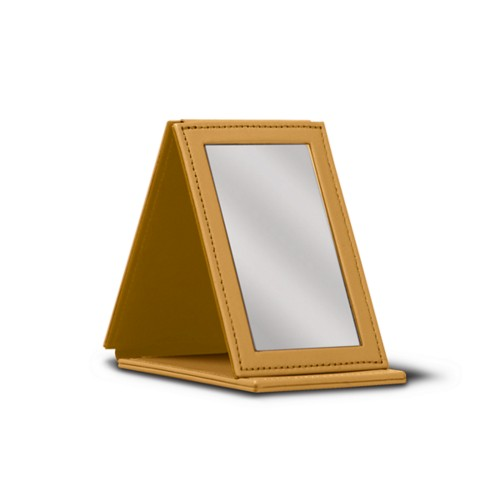 Rectangular pocket mirror - Mustard Yellow - Smooth Leather