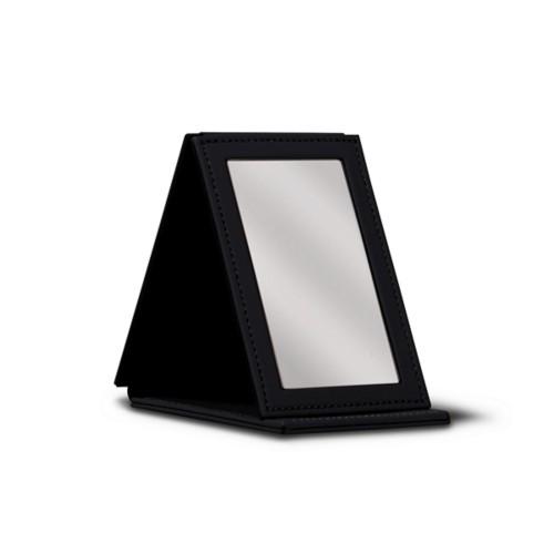 Rectangular Pocket Mirror - Black - Smooth Leather