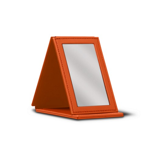 Rectangular pocket mirror - Orange - Smooth Leather