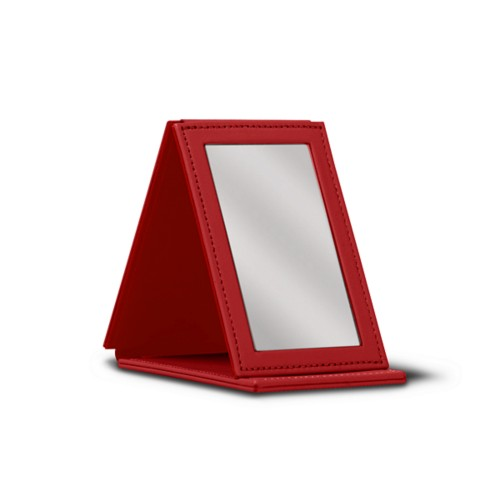 Rectangular Pocket Mirror - Red - Smooth Leather