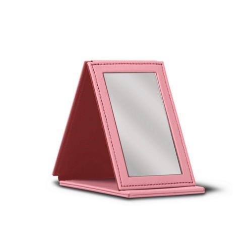 Rectangular Pocket Mirror - Pink - Smooth Leather