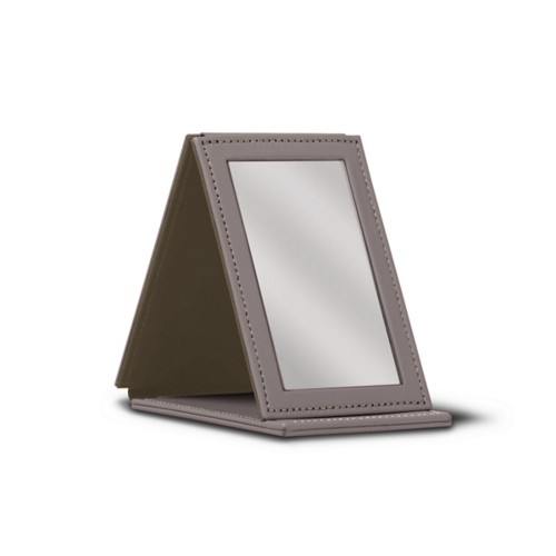 Rectangular pocket mirror - Light Taupe - Smooth Leather