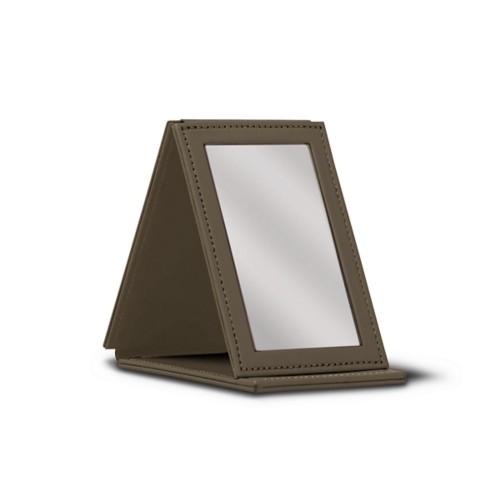 Rectangular Pocket Mirror - Dark Taupe - Smooth Leather