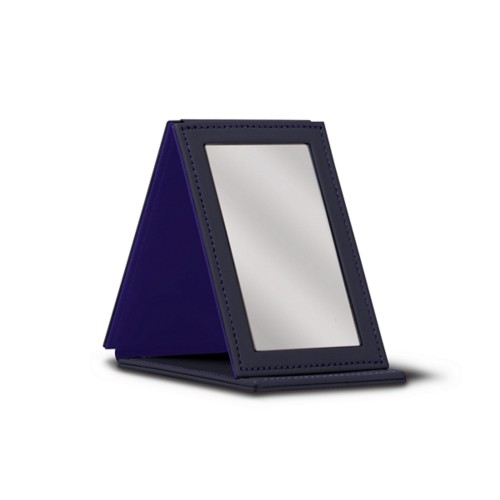 Rectangular Pocket Mirror - Purple - Smooth Leather