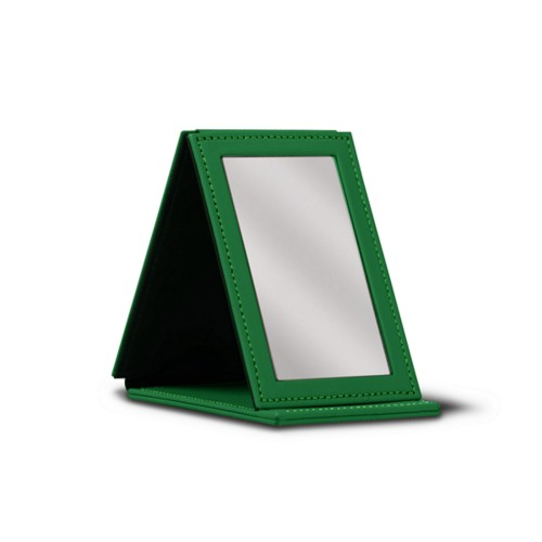 Rectangular Pocket Mirror - Light Green - Smooth Leather