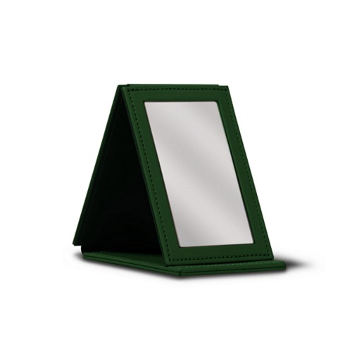 Rectangular pocket mirror - Dark Green - Smooth Leather