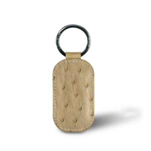 Rounded rectangle key ring - Beige - Real Ostrich Leather