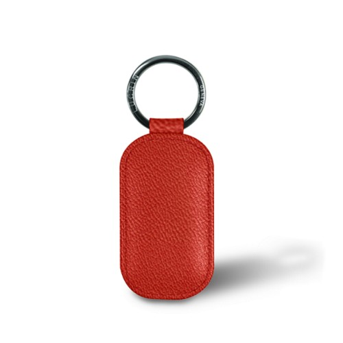 Rounded rectangle key ring - Red - Goat Leather