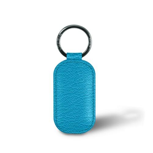 Rounded rectangle key ring - Turquoise - Goat Leather