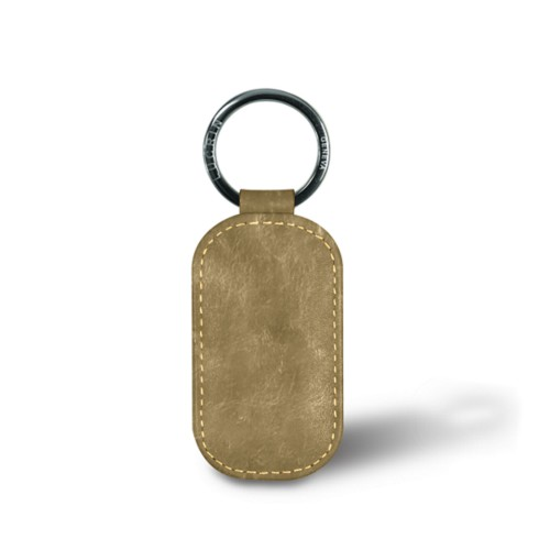 Rounded rectangle key ring - Golden - Metallic Leather
