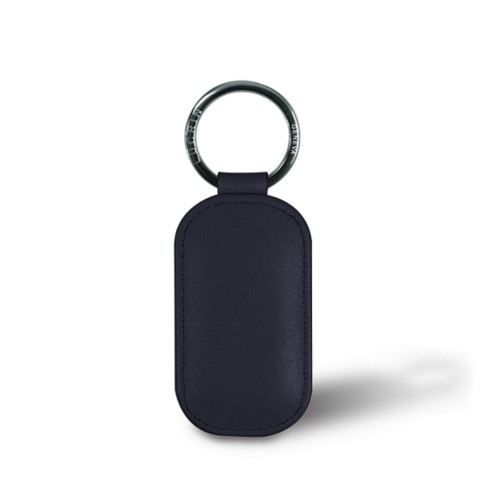 Rounded rectangle key ring - Navy Blue - Smooth Leather