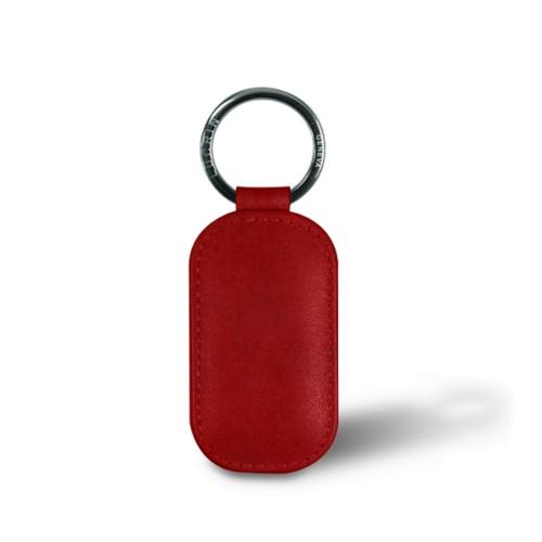 Porte-clés arrondi - Carmin - Cuir végétal